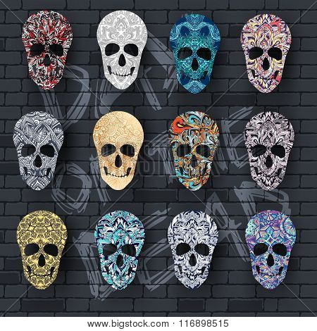 Set skull for the illustrations concept on day of the dead. Vector template colorful abstract decora