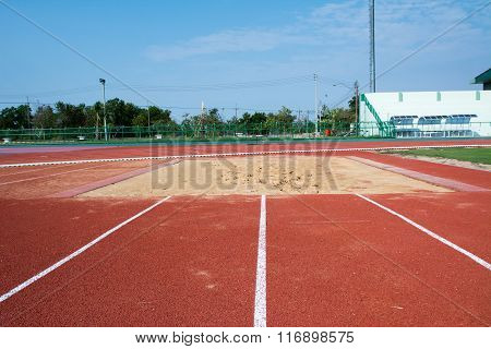 Running track with corner of the football field