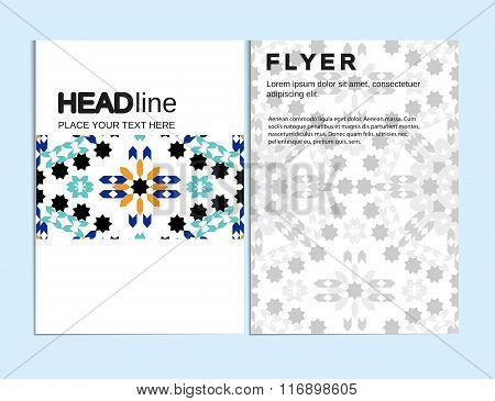 Abstract Moroccan Geometric Brochure Flyer design Layout vector template in A4 size, vertical, free
