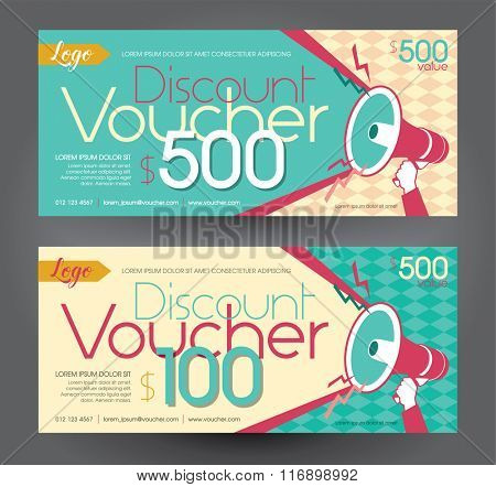 Vector illustration,Discount voucher template with clean and modern pattern.