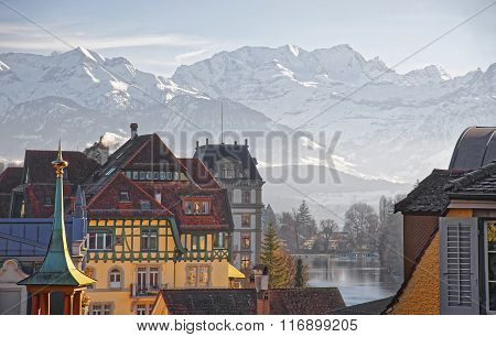 Panorama Of Houses In Thun And The Alps And Thunersee