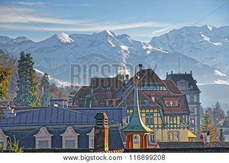 Panorama With A Spire In Thun And The Alps