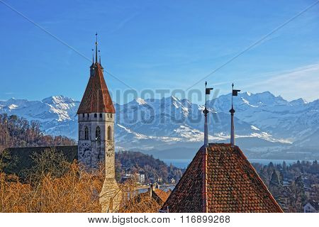 Panorama Of Thun City Church With Thunersee And Alps