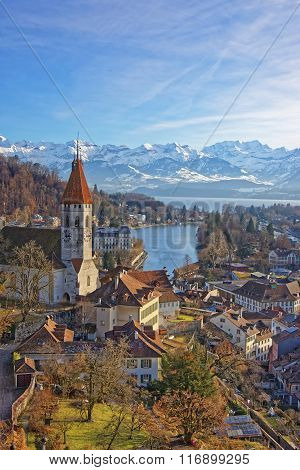 Panorama Of Thun Town And Church With Alps And Thunersee