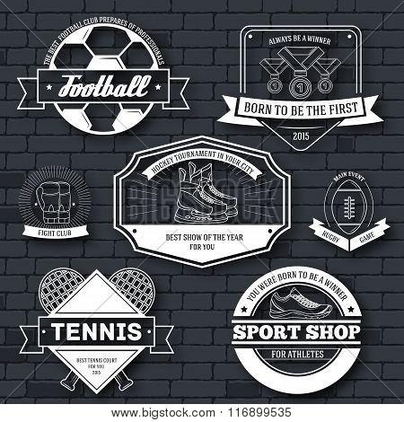 Sport set label template of emblem element for your product, emblem, logo or design, web and mobile