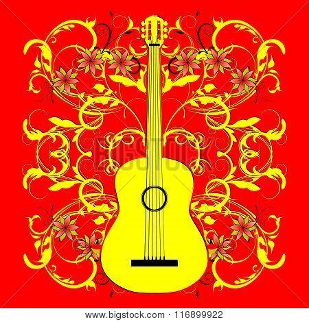Acoustic Guitar Outline Khokhloma