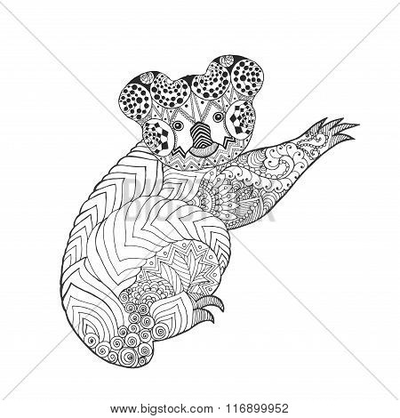 Zentangle stylized koala