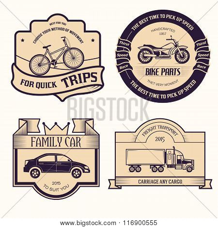 transports set retro label template of emblem element for your product or design, web and mobile app