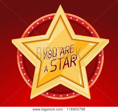 Vector Illustration Of Big Golden Star In Circle On Red Background.