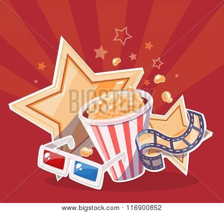Vector Realistic Illustration Of Cinema Glasses, Popcorn, Yellow Stars And Film Reel On Red Backgrou