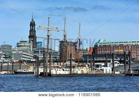 The Saint Michaelis Church And Sailing Ship On Elbe River, Hambu