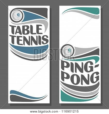 Creative illustrations for text on the subject of table tennis and ping-pong