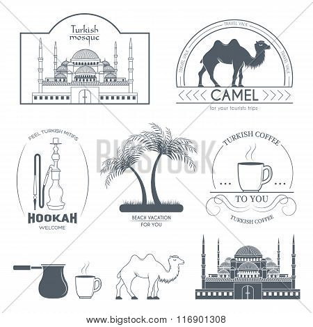 Turkey country set label. Template of emblem element for your product or design, web and mobile appl