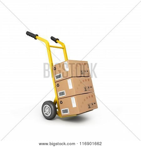 Concept Of Fast Delivery Boxes On A Trolley