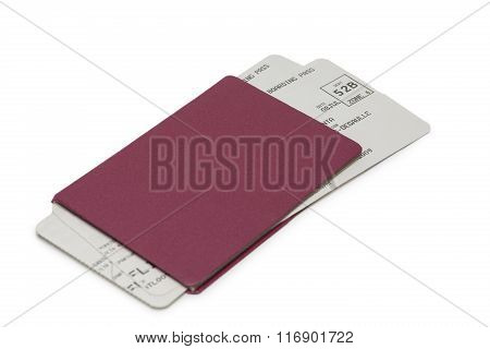 Neutral Passport With Tickets On White