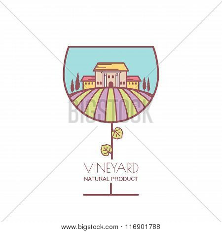 Landscape With Purple And Green Vineyard Field, Villa, Trees In Wine Glass Shape.