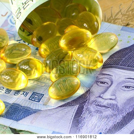 Current Use of South Korean Won Currency and Medicine in Korean Healthcare Business Concept.
