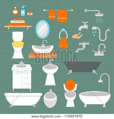 Bathroom and toilet flat style vector icons isolated on background