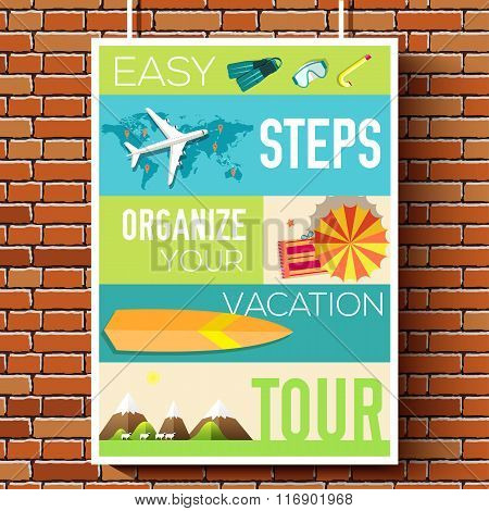 easy steps organize for your vacation tour flyer with infographics and placed text. Illustrated guid