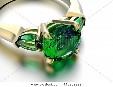 Wedding ring with diamond. Sign of love. Fashion jewelry. Emerald