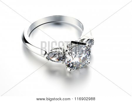 Wedding ring with diamond. Sign of love. Fashion jewelry