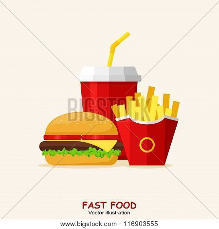 Lunch with Hamburger, French Fries and Soda isolated on background. Group of Fast Food products. Fla