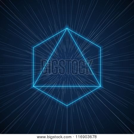 Vector futuristic space tunnel with geometric shapes