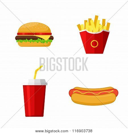 Icons set lunch with Hamburger, Hot Dog,  French Fries and Soda. Group of Fast Food products. Flat d