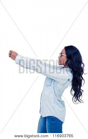 Asian woman posing for camera on white screen