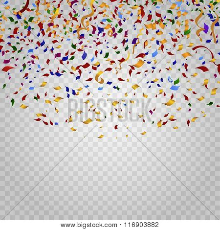 Colorful confetti on checkered background. Vector template