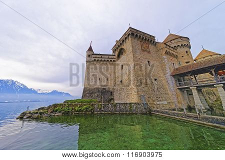 Facade Of Chillon Castle On Lake Geneva In Switzerland