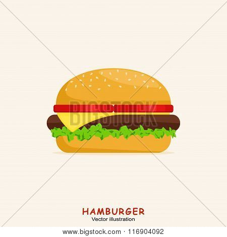 Hamburger with meat, lettuce, cheese and tomato. Fast Food Vector Illustration