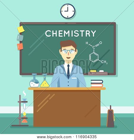 Chemistry teacher in classroom. Vector flat education background