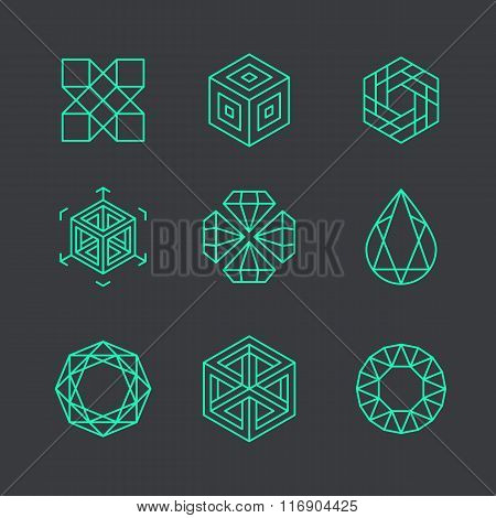 Vector Abstract Modern Logo Design Templates In Trendy Linear Style