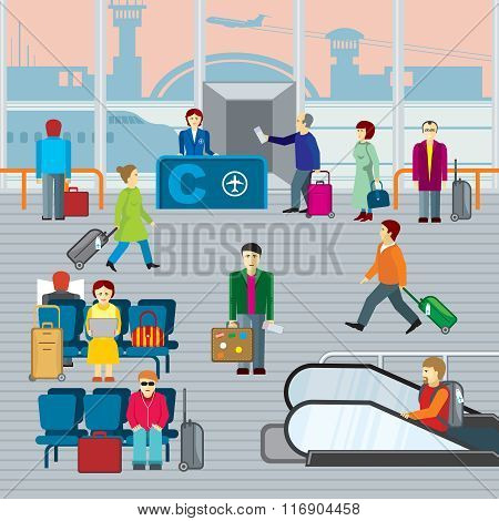 People in airport. Flat vector illustraton