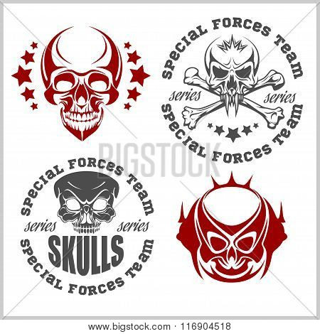 Set of emblems with skulls