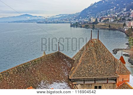 VEYTAUX SWITZERLAND - JANUARY 2 2015: View to Montreux from Chillon Castle. It is an island castle on Lake Geneva (Lac Leman) in the Vaud between Montreux and Villeneuve.