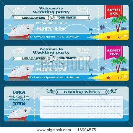 Retro boarding pass ticket. Wedding invitation template