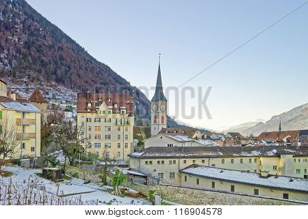 Vineyard And St Martin Church Of Chur At Sunrise