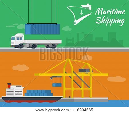 Container ship at freight port terminal. Truck delivery of container.