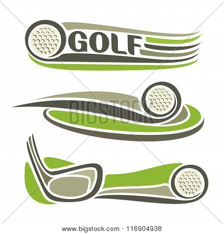 A set of images on the theme of golf