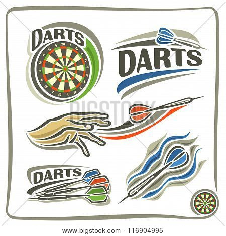 A set of abstract Illustrations on the darts theme