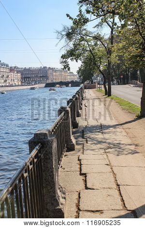 The old quay of the Fontanka River.