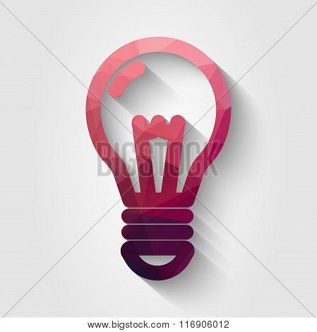 Flat polygonal bulb icon