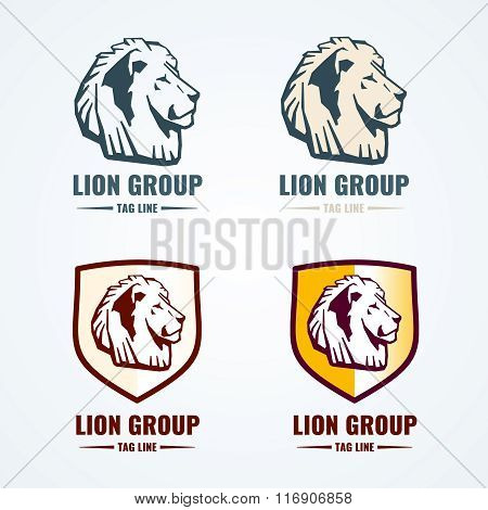 Vintage lion logotypes vector set