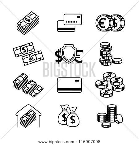 Money line vector icons set