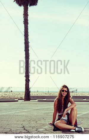 Young pretty happy smiling hipster girl