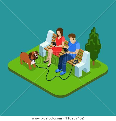 Social media addiction. Young couple in park with smartphones. 3d isometric people concept