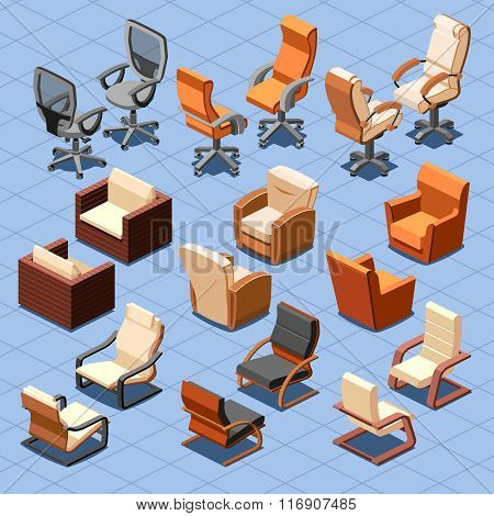 Chair and armchair isometric vector set
