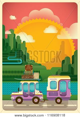 Road trip through the nature. Vector illustration.
